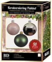 91 stuks kerstballen mix zilver groen lichtroze voor 150 cm boom trend