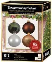 95 stuks kerstballen mix wit beige groen bruin voor 150 cm boom trend