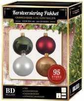 95 stuks kerstballen mix wit beige groen rood voor 150 cm boom trend