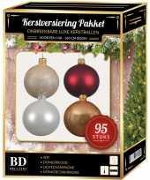 95 stuks kerstballen mix wit champagne donkerrood 150 cm boom trend