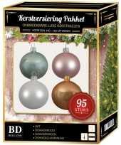95 stuks kerstballen mix wit roze mint beige voor 150 cm boom trend