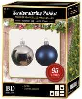 95 stuks kerstballen mix zilver donkerblauw voor 150 cm boom trend