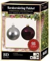 95 stuks kerstballen mix zilver paars voor 150 cm boom trend