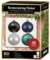 95x kerstballen mix wit ijs stone donkerblauw voor 150 cm boom trend