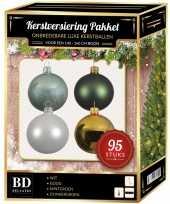 95x kerstballen mix wit mint goud donkergroen voor 150 cm boom trend