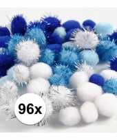 96x knutsel pompons 15 20 mm wit blauw trend