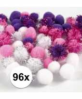 96x knutsel pompons 15 20 mm wit paars trend