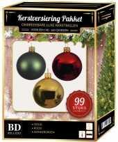 99 stuks kerstballen mix goud groen rood voor 150 cm boom trend