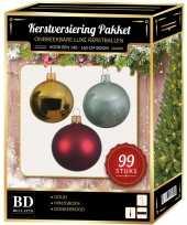99 stuks kerstballen mix goud mint donkerrood voor 150 cm boom trend