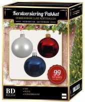 99 stuks kerstballen mix wit blauw rood voor 150 cm boom trend