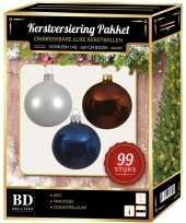 99 stuks kerstballen mix wit bruin donkerblauw voor 150 cm boom trend