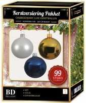 99 stuks kerstballen mix wit goud donkerblauw voor 150 cm boom trend