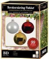 99 stuks kerstballen mix wit goud rood voor 150 cm boom trend