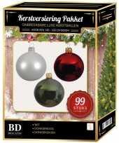 99 stuks kerstballen mix wit groen donkerrood voor 150 cm boom trend