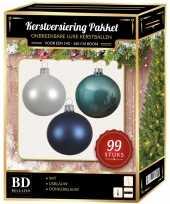 99 stuks kerstballen mix wit ijsblauw blauw voor 150 cm boom trend