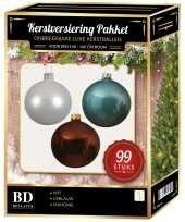 99 stuks kerstballen mix wit ijsblauw bruin voor 150 cm boom trend