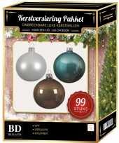 99 stuks kerstballen mix wit ijsblauw kasjmier voor 150 cm boom trend