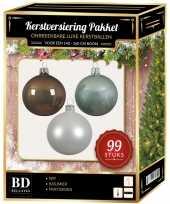 99 stuks kerstballen mix wit mint bruin voor 150 cm boom trend