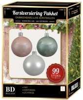 99 stuks kerstballen mix wit roze mintgroen voor 150 cm boom trend