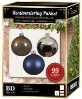 99 stuks kerstballen mix zilver blauw bruin voor 150 cm boom trend