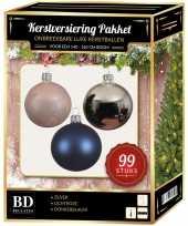 99 stuks kerstballen mix zilver lichtroze blauw voor 150 cm boom trend