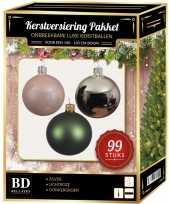 99 stuks kerstballen mix zilver lichtroze groen voor 150 cm boom trend