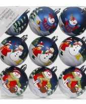 9x blauwe kerstballen 6 cm kunststof met print trend