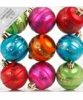 9x gekleurde mix kunststof kerstballen pakket 6 cm trend