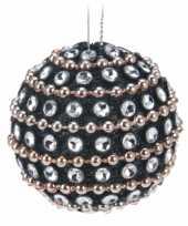 9x kerstboomversiering zwarte kerstballen met steentjes 3 5 cm trend