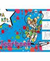 A4 kleurplaten kleurboeken blauw 24 vellen trend