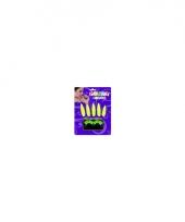 Accessoiresset nagels en wimpers fluor geel trend