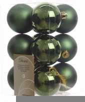 Ambiance christmas kerstboom decoratie kerstballen groen 12 x trend