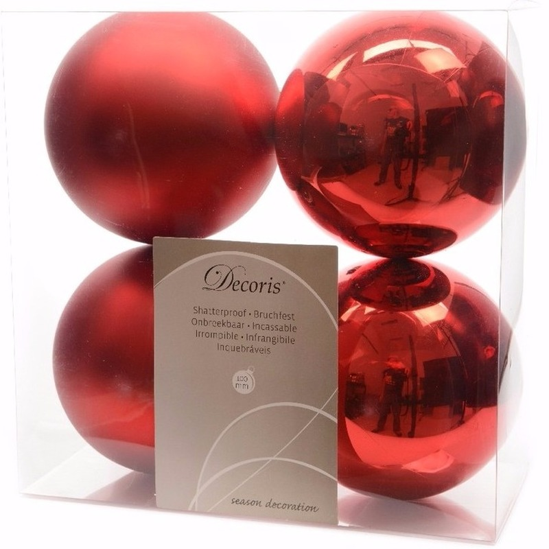 Ambiance christmas kerstboom decoratie kerstballen rood 4 x trend