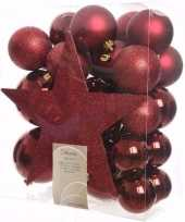 Ambiance christmas kerstboom decoratie set donkerrood 33 delig trend