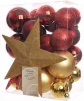 Ambiance christmas kerstboom decoratie set goud rood 33 delig trend