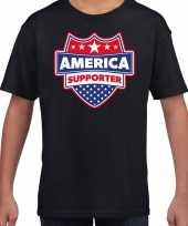 Amerika america schild supporter t-shirt zwart voor kinderen trend