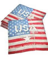 Amerikaanse vlag bedrukt op servetten 20 stuks trend