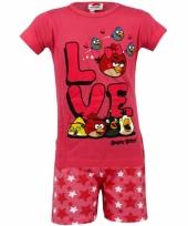 Angry birds korte pyjama kinderen roze trend