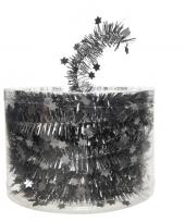 Antraciet kerstversiering folie slinger met ster 700 cm trend