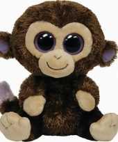 Apen speelgoed artikelen ty beanie aap knuffelbeest coconut bruin 24 cm trend