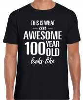 Awesome 100 year 100 jaar cadeau t-shirt zwart heren trend