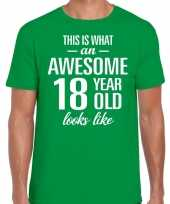 Awesome 18 year 18 jaar cadeau t-shirt groen heren trend