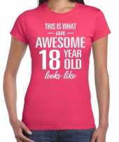 Awesome 18 year 18 jaar cadeau t-shirt roze dames trend