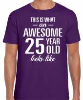 Awesome 25 year 25 jaar cadeau t-shirt paars heren trend