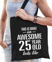 Awesome 25 year geweldig 25 jaar cadeau tas zwart voor dames trend