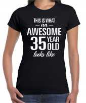 Awesome 35 year 35 jaar cadeau t-shirt zwart dames trend
