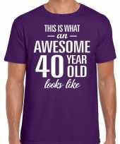 Awesome 40 year 40 jaar cadeau t-shirt paars heren trend