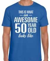 Awesome 50 year 50 jaar cadeau t-shirt blauw heren trend