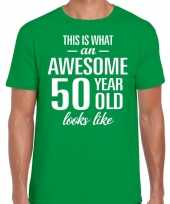 Awesome 50 year 50 jaar cadeau t-shirt groen heren trend