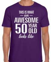 Awesome 50 year 50 jaar cadeau t-shirt paars heren trend